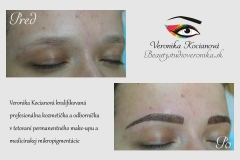 Čiarkované obočie microblading permanentný make up Bratislava Veronika Kocianová