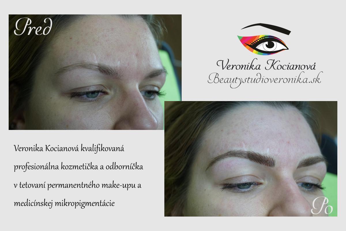 Čiarkované obočia microblading permanentný make up Bratislava