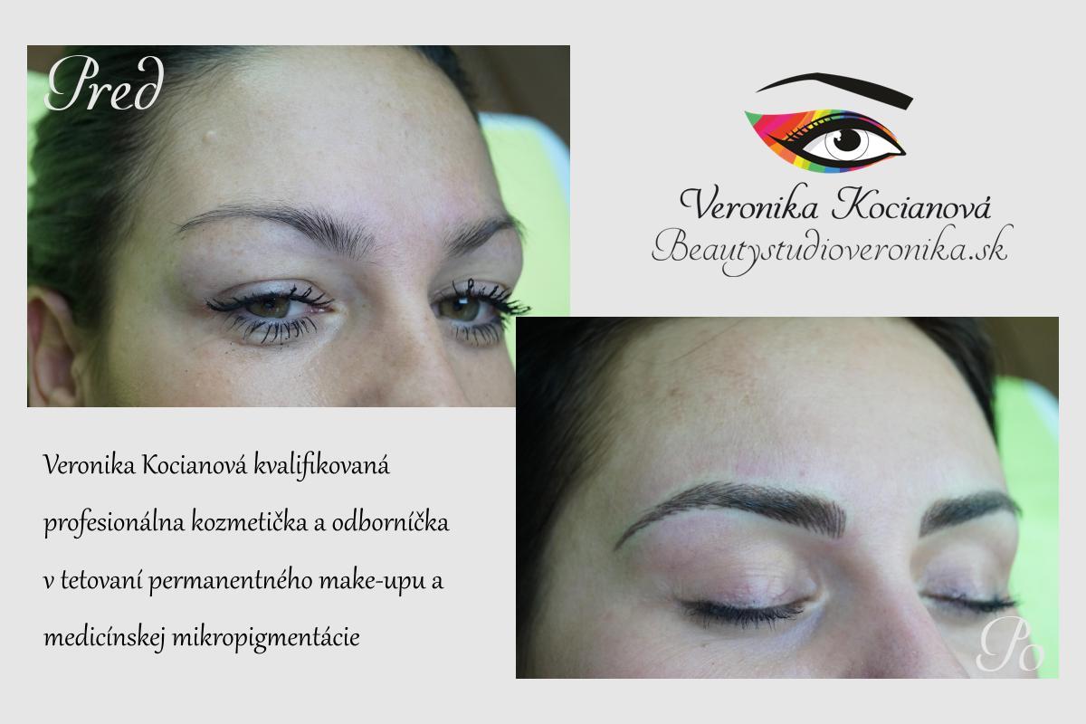 Čiarkované obočie microblading permanentný make up