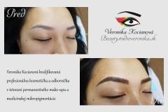 Odborne a profesionálne vytetovaný permanentný make-up obočia čiarkovanou metódou musí mať prirodzený tvar a nezmení farbu do modra, zelena, fialova, červena, oranžova