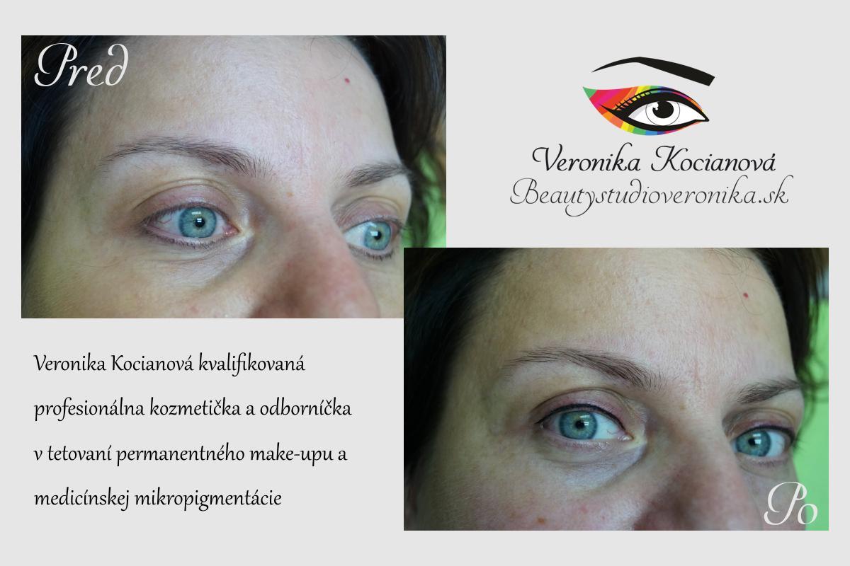 Permanentný make-up horná očná linka 80€