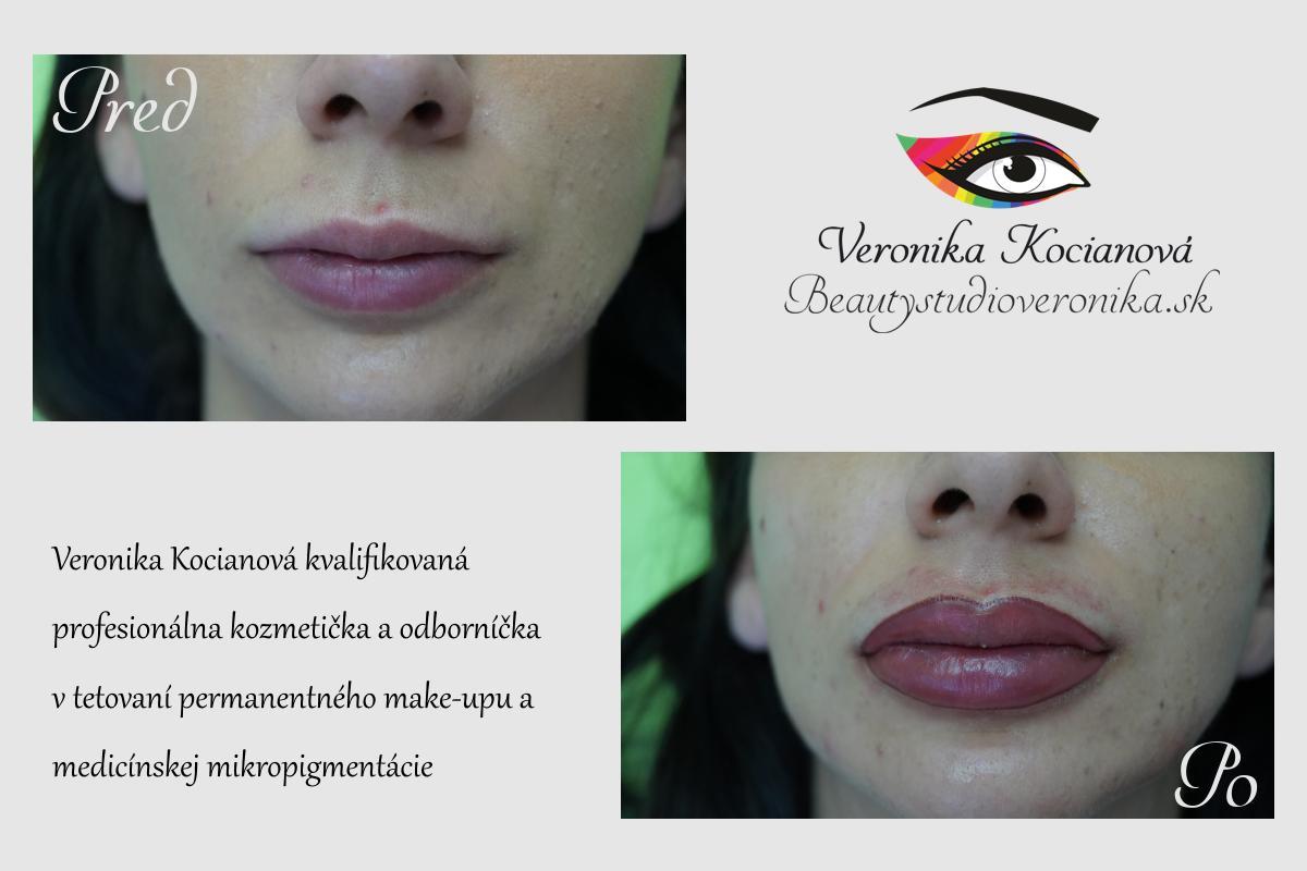 Permanentný make-up kontúra pier s plným vytieňovaním Veronika Kocianová
