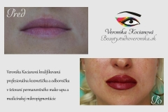 Permanentný make-up pier s plným vytieňovaním po zahojení zostanú pery o dva až tri odtiene bledšie Veronika Kocianová