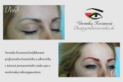 Tetovanie horných očných liniek a oprava neodborne vytetovaného obočia v inom salóne