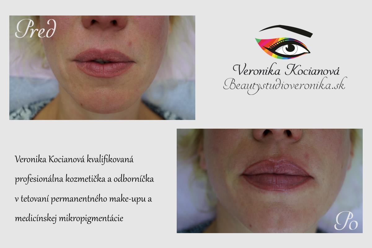 Tetovanie permanentného make-upu pier Veronika Kocianová