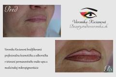 Tetovanie permanentného makeupu kontúry pier Veronika Kocianová