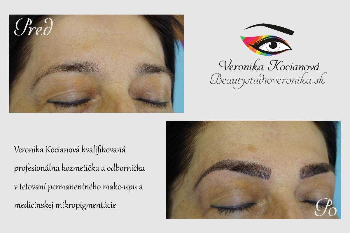 Tetovanie permanentny make-up microblading obočia čiarkovanou metódou Veronika Kocianová Schweiz Zürich-Bern