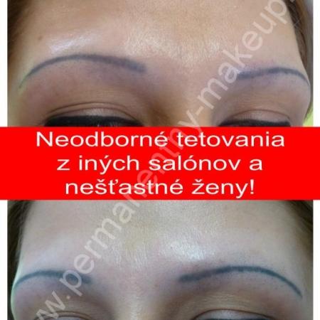 Neodborné tetovanie permanentného make-upu